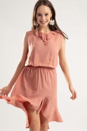 Y-London Kadın Gül Kurusu Beli Lastikli Sıfır Kol Elbise Y20S168-2201