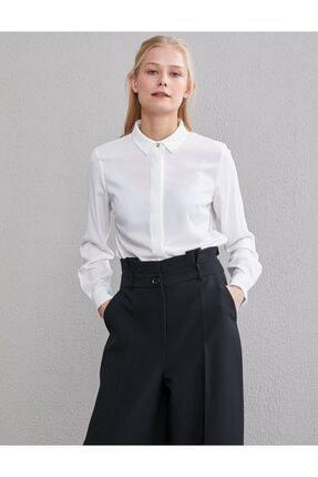 Kayra Kadın Beyaz Basic Patı Gizli Gömlek Sz 11500