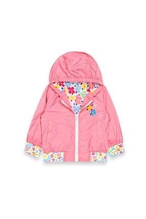 Midimod Kız Çocuk Pembe Çiçek Desenli Yağmurluk