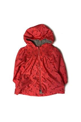Midimod Kız Çocuk Kırmızı Kapüşonlu Yağmurluk