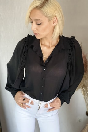 Siyah Fırfır Detaylı Balon Kol Gömlek 003-00-01-42