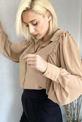 Kadın Kahverengi Fırfır Detaylı Balon Kol Gömlek 000-00-13-44
