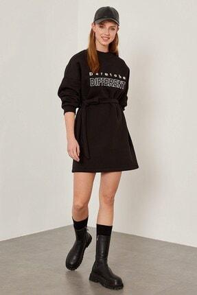 Arma Life Kadın Siyah Nakışlı Üç Iplik Elbise -