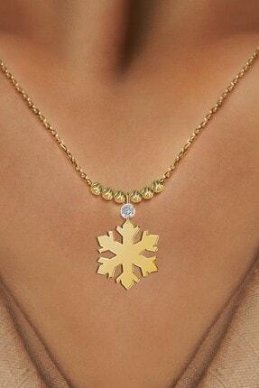 Demas Gold Kadın  Pırlantalı 14 Ayar Altın Dorika Kar Tanesi Kolye