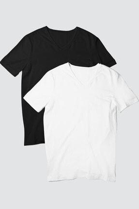 Rock & Roll34 Kadın Siyah, Beyaz Düz V Yaka  2'li Eko Paket T-shirt