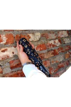 Della Pianto Siyah Desenli Otomatik Şemsiye Dlp0042