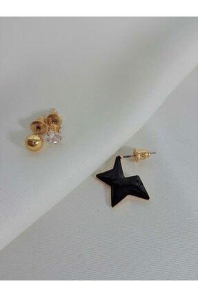 Accessories Kadın 3'lü Siyah Yıldızlı Zirkon Taşlı Boncuk Küpe