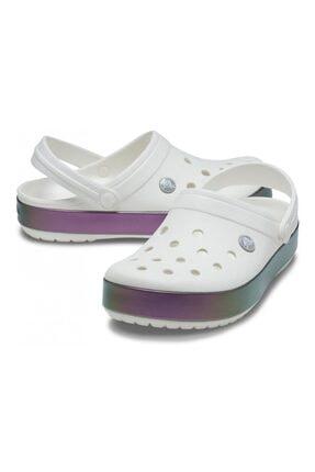 Crocs Unisex Beyaz Crocband Irıdescent Band Spor Terlik Sandalet 206595-100
