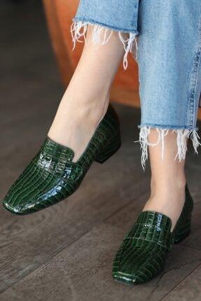 Mio Gusto Maddy Yeşil Krokodil Topuklu Ayakkabı