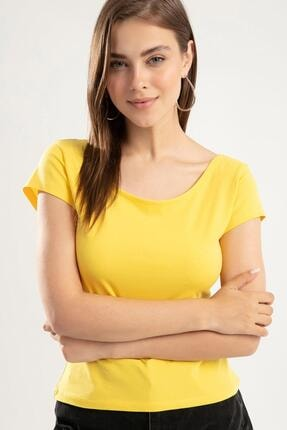 Y-London Kadın Sarı Geniş Yaka Kısa Kollu T-Shirt Y20s126-10534