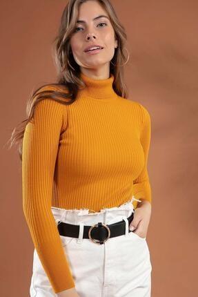 Y-London Kadın Sarı Boğazlı Fitilli Triko Kazak Y20w110-44500