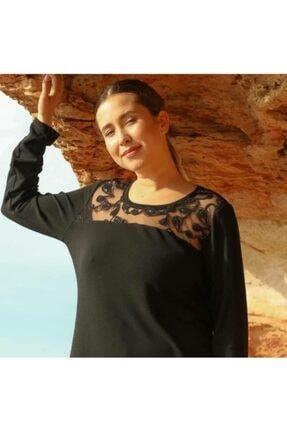 Rmg Kadın Siyah Tül Detaylı Kazak