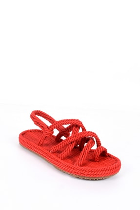Sapin Kadın Kırmızı Parmak Arası Halat Sandalet 22080