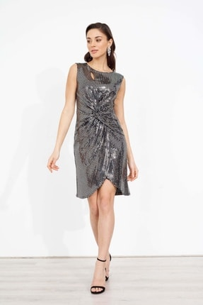 Moda İlgi Kadın Gümüş Drape Detaylı Payet Elbise