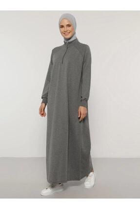 Everyday Basic Kadın Antrasit Fermuar Detaylı Spor Elbise 1669003