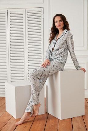 Morpile Kadın Gri Desenli Düğmeli Pijama Takımı