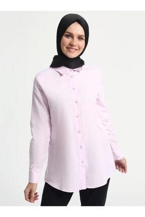 Everyday Basic Kadın Pembe Doğal Kumaşlı Gömlek 476886
