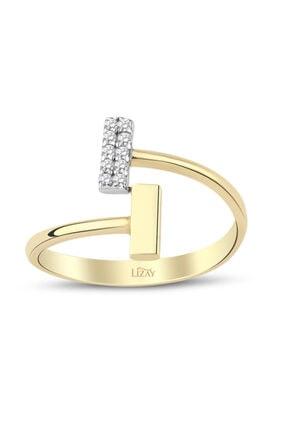 Lizay Pırlanta Kadın Altın Taşlı Trend Yüzük