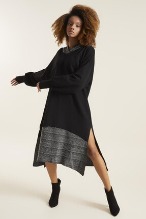 Quincey Kadın Siyah Kapşonlu Elbise