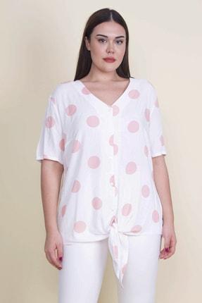 Şans Kadın Kemik Puan Desenli Bluz 65N21110