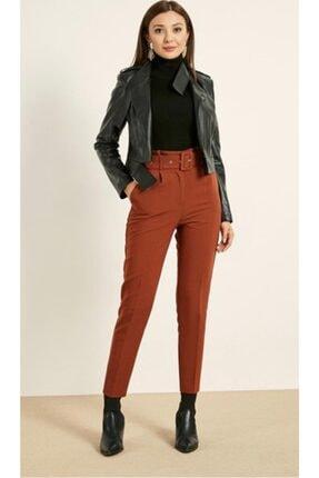 ALFASA Kadın Yüksek Bel Kemerli Kumaş Pantolon