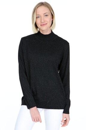 Home Store Kadın Siyah Basic Dik Yaka Simli Yivli Dokuma Triko