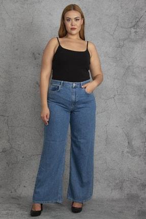 Şans Kadın Mavi Geniş Paça Kot Pantolon 65N23378