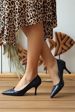 Pembe Potin Kadın Lacivert Kroko Klasik Topuklu Ayakkabı