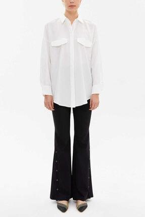 Societa Kadın Beyaz Cepli Bol Kesim Gömlek 10743