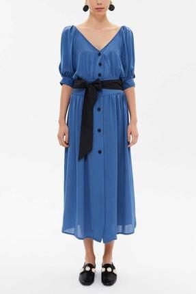 Societa Kadın Mavi V Yaka Gömlek Elbise