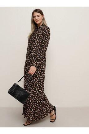 Alia Kadın Siyah Doğal Kumaşlı Çiçek Desenli Elbise 1451801