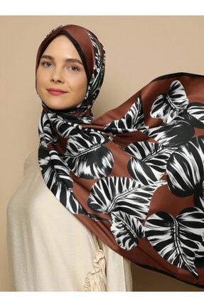 Tuva Kadın Kahverengi Mare İpeksi Tasarım Twill Şal 1783994