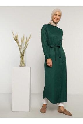 Everyday Basic Kadın Yeşil Doğal Kumaşlı Gizli Düğmeli Uzun Gömlek Elbise 1675345