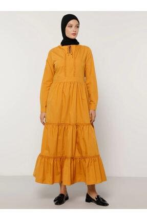 Refka Kadın Hardal Yaka Detaylı Elbise 1412968