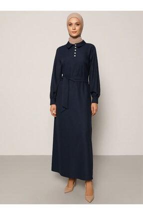 Refka Kadın Lacivert Taşlı Düğme Detaylı Kuşaklı Elbise 1703300