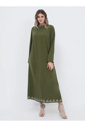 Alia Trok Detaylı Abiye Elbise - Soft Haki -
