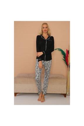 Tuğba Kadın Siyah Önden Düğmeli Pijama Takım