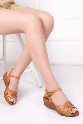 Deripabuc Hakiki Deri Taba Naturel Kadın Dolgu Topuklu Deri Sandalet Dp-0974