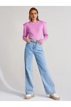 Dilvin Kadın Mavi  Geniş Paça Uzun Pantolon