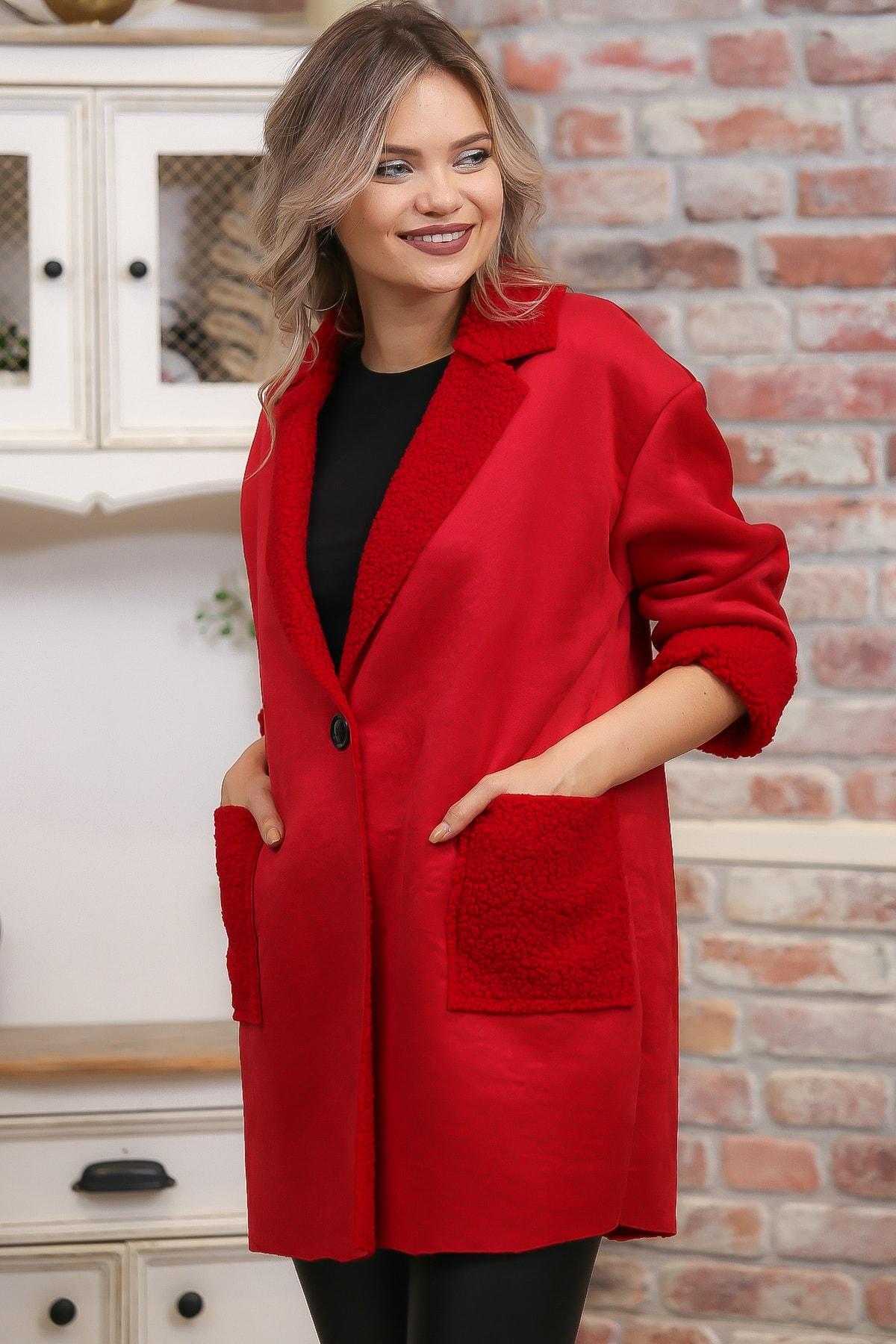 Chiccy Kadın Kırmızı Teddy Peluş Astarlı Cepli Düğme Detaylı Retro Kaban M10210200KA99802