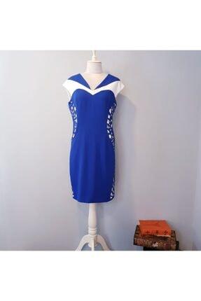 Bendis Kadın Mavi Lazer Kesim Model Büyük Beden Kısa Elbise