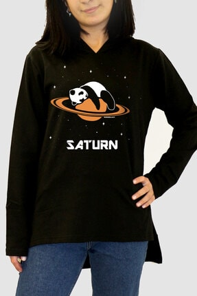 Rock & Roll34 Kadın Siyah Satürnde Panda Arkası Uzun Yanları Yırtmaçlı Kapüşonlu Sweatshirt