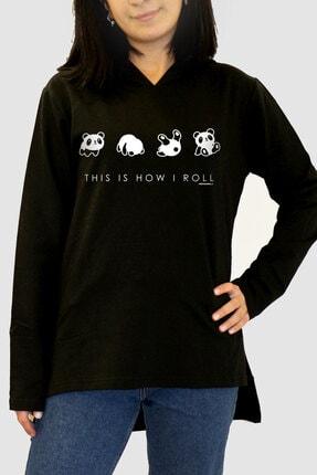 Rock & Roll34 Kadın Siyah Panda Taklası Arkası Uzun Yanları Yırtmaçlı Kapşonlu Sweatshirt