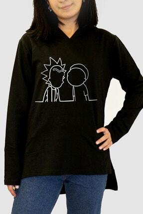 Rock & Roll34 Kadın Siyah Çizgi Dizi Arkası Uzun Yanları Yırtmaçlı Kapşonlu Sweatshirt