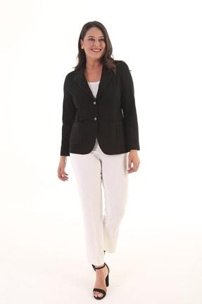 Kadın Siyah Likralı Kanvas Ceket K012958