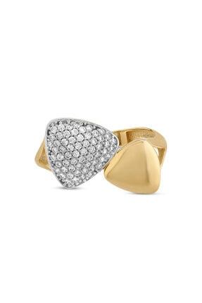 Myra Gold Taşlı Geometrik Şekilli Modern Yüzük