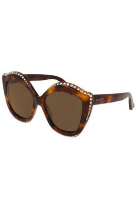 Gucci Kadın Kahverengi Taşlı Güneş Gözlüğü Gg0118s 003
