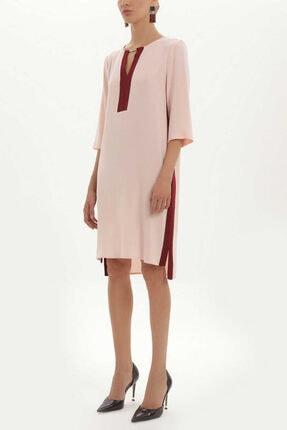 Societa Kadın Pembe Yakası Aksesuarlı Bol Kesim Elbise