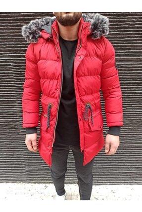 Erkek Kırmızı Uzun Şişme Mont KFS020