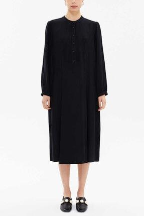 Societa Kadın  Siyah Hakim Yaka Pileli Midi Boy Elbise 93303